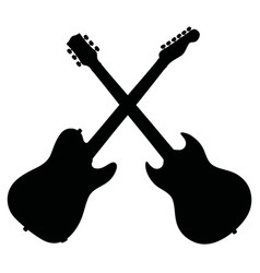Black silhouettes of electric guitars vector