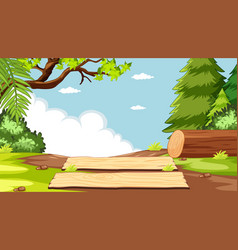 Blank sky in nature park scene with timber vector