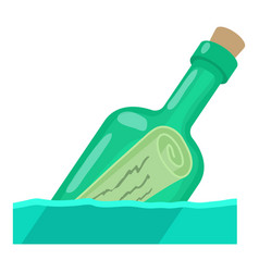 bottle with message icon cartoon style vector image