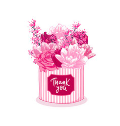 bouquet with pink flowers roses tulips in pink vector image