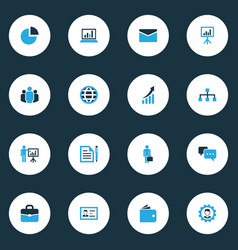 Business colorful icons set collection of vector