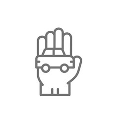 car in hand manual cleaning line icon vector image