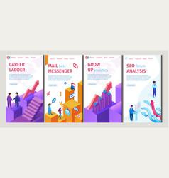 Career ladder mail best messenger set flat banner vector