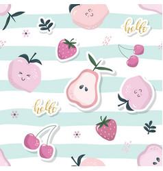Cartoon seamless pattern summer fruit background vector