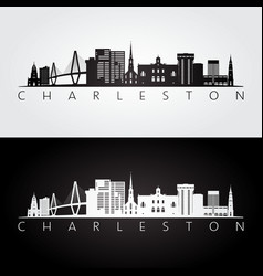 Charleston usa skyline and landmarks silhouette vector