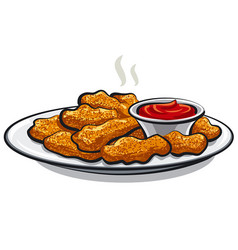 Chicken nuggets with a tomato ketchup vector