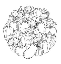 Circle shape coloring page with doodle vegetables vector