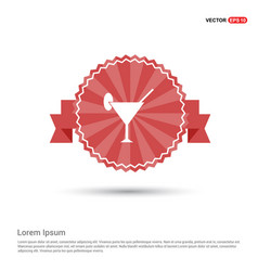 cocktail glasses icon - red ribbon banner vector image