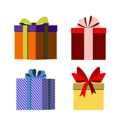 colorful wrapped gift boxes signs vector image