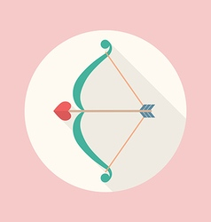 Cupid bow and arrow flat icon vector image