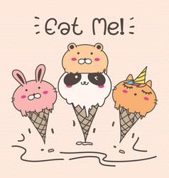 cute animal ice cream vector image