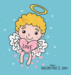 cute cupid with love heart on sky cartoon vector image