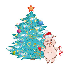 cute pink pig near christmas tree vector image