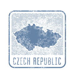 czech travel stamp with silhouette of map vector image