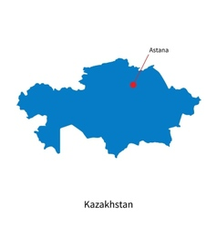 Detailed map of Kazakhstan and capital city Astana vector