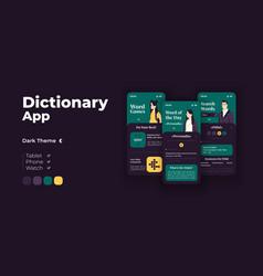 Dictionary app cartoon smartphone interface vector