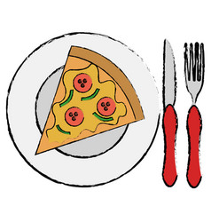 dish and cutlery with pizza vector image