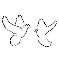 Doves silhouettes vector