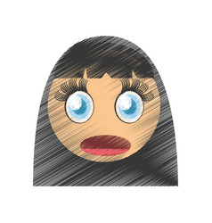 Drawing girl scared emoticon image vector