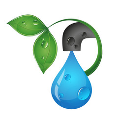 Drop of water from the tap eco design vector
