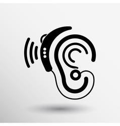 Ear icon hearing aid ear listen sound graphics vector image