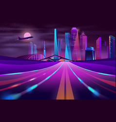 Empty road in megapolis at night vector