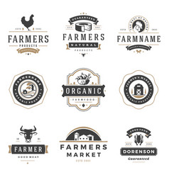 Farmers market logos templates objects set vector