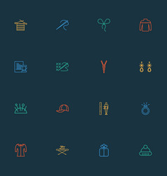 fashionable icons line style set with needle cap vector image