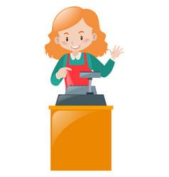 Female clerk working on desk vector