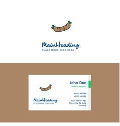 flat hot dog logo and visiting card template vector image