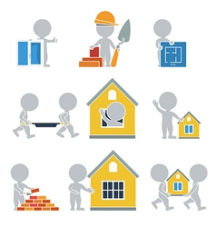 Flat people construction vector