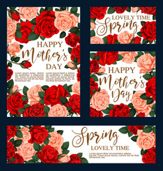 floral roses cards for mother day vector image