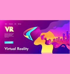 Futuristic horizontal banner virtual reality vector