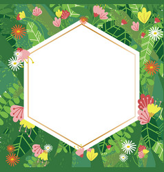 geometric botanical design frame vector image