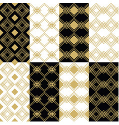 Golden modern art deco square patterns backgrounds vector