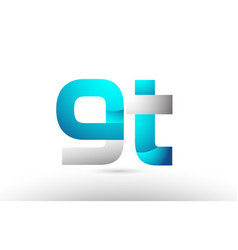 Grey blue alphabet letter gt g t logo 3d design vector