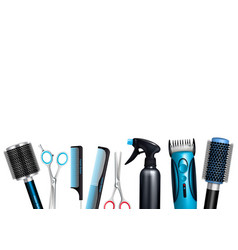 hairdresser tools background vector image
