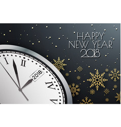 Happy new year 2018 background with clock vector