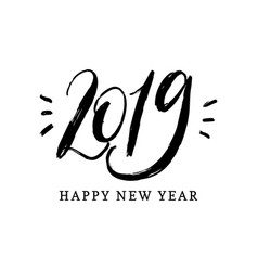 happy new year 2019 hand lettering vector image