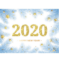 Happy new year 2020 glitter gold in christmas vector