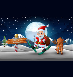 Happy santa claus skiing and a deer on the snowy r vector