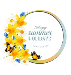Happy summer holidays banner with flowers and vector