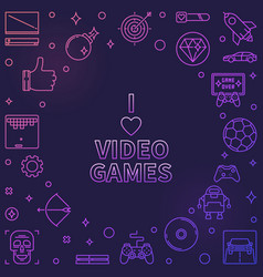 i love video games colorful frame game vector image