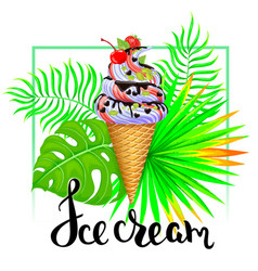 Ice cream with tropical leaves vector