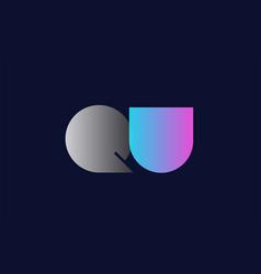 initial alphabet letter qu q u logo company icon vector image