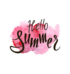 inscription hello summer on a pink background vector image