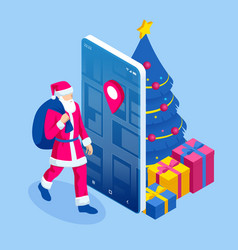 isometric happy santa claus with a sack full of vector image