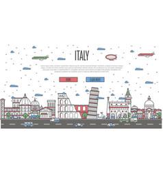 italian skyline with national famous landmarks vector image