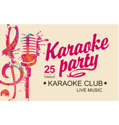 Karaoke party banner with mic and treble clef vector
