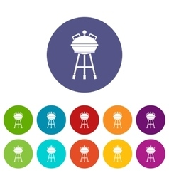Kettle barbecue set icons vector
